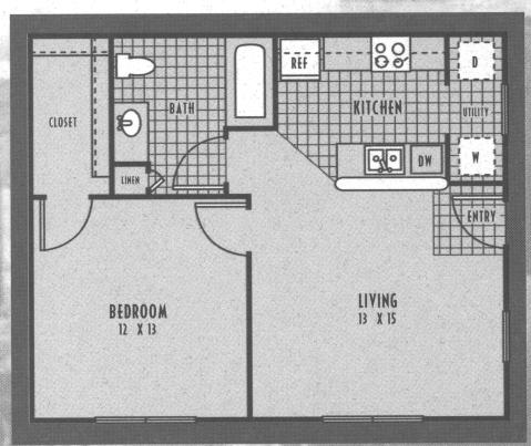 632 sq. ft. 60% floor plan