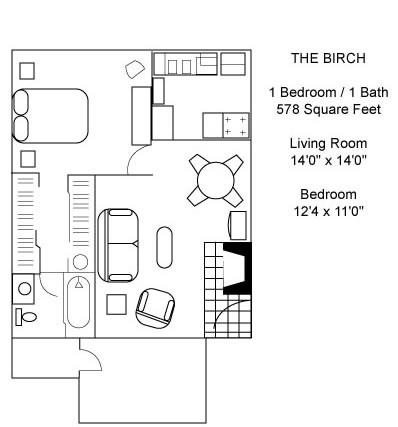 578 sq. ft. Birch floor plan