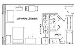429 sq. ft. Eff B floor plan