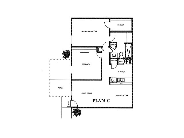 914 sq. ft. ASPEN floor plan