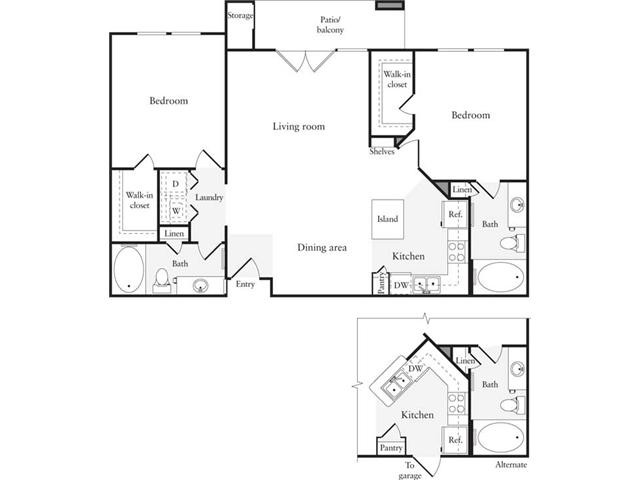 1,062 sq. ft. B3 floor plan