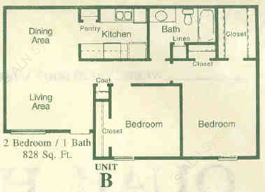 828 sq. ft. B floor plan