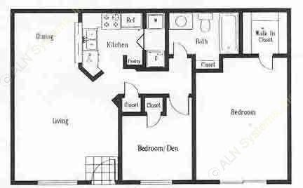 788 sq. ft. B1 floor plan