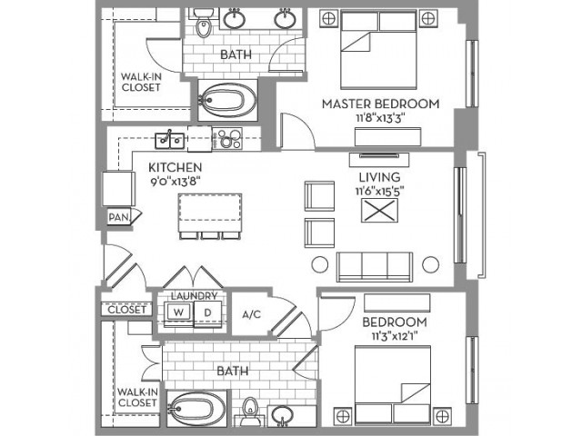 1,141 sq. ft. Royal(B.2) floor plan