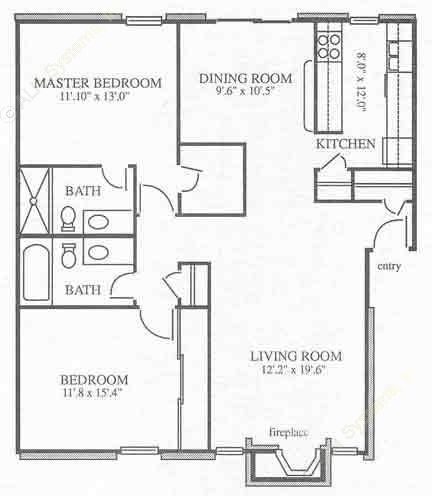 1,039 sq. ft. B1 floor plan