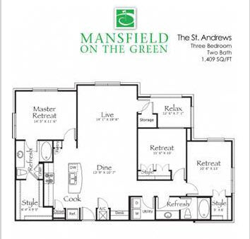 1,409 sq. ft. St Andrew floor plan