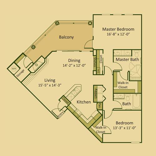 1,296 sq. ft. 2B3-FP floor plan
