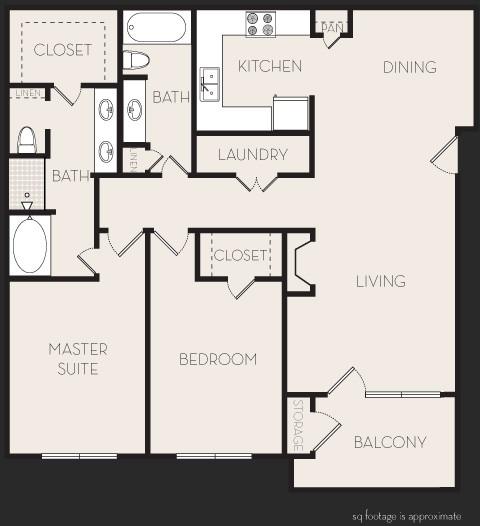 1,317 sq. ft. D2 floor plan