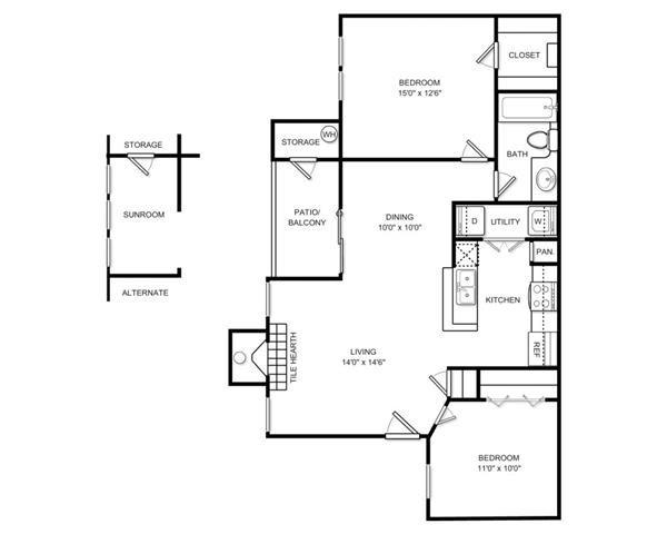 924 sq. ft. Plan B1B floor plan