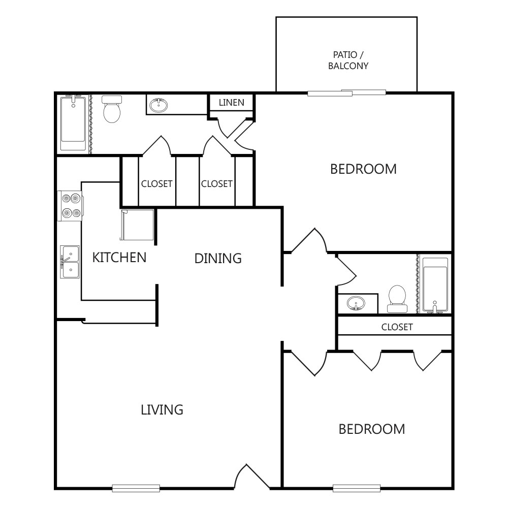 945 sq. ft. B2 ABP floor plan