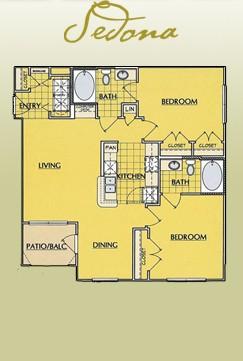 993 sq. ft. B1 floor plan