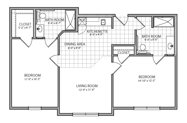 925 sq. ft. Milano Assist. floor plan