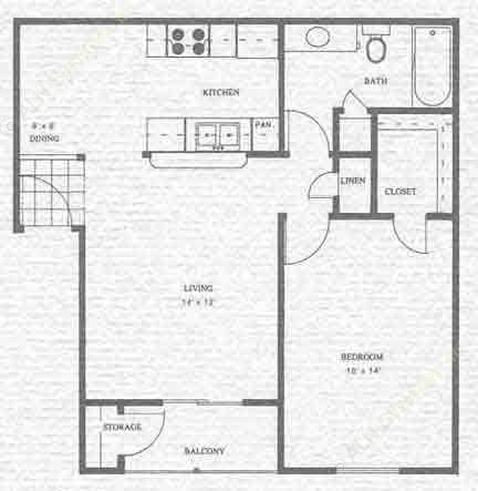 613 sq. ft. A1 floor plan
