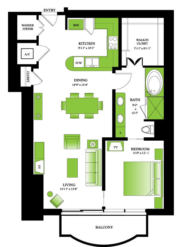 976 sq. ft. Aspen floor plan