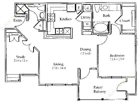 937 sq. ft. B1 floor plan
