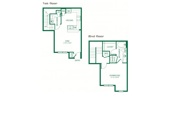 752 sq. ft. A6B Multilink floor plan