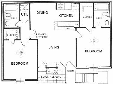 838 sq. ft. A floor plan
