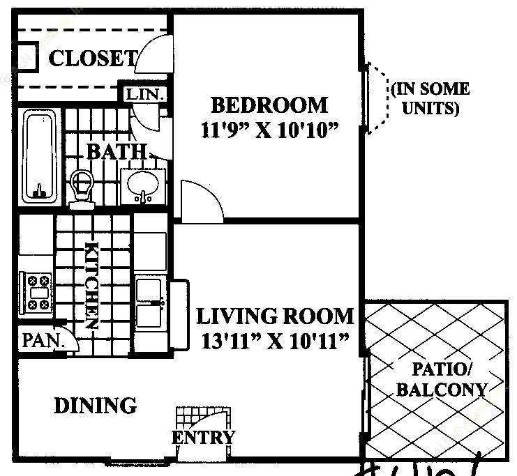544 sq. ft. B floor plan