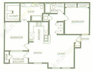 1,065 sq. ft. B3/B4 floor plan