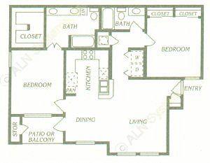 1,065 sq. ft. B3/B4 floor plan