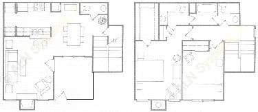 1,107 sq. ft. B3T floor plan
