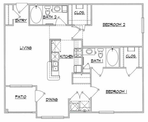 1,040 sq. ft. Terrain floor plan