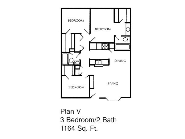 1,164 sq. ft. V floor plan