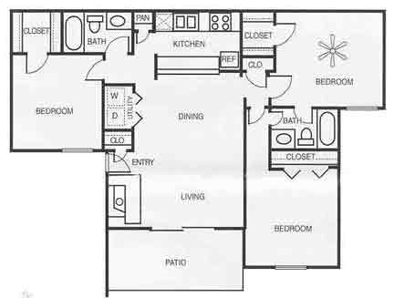 1,200 sq. ft. C2/CHESTNUT floor plan