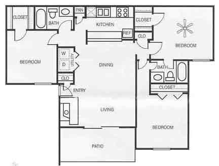 1,200 sq. ft. C2/Chestnut floor plan