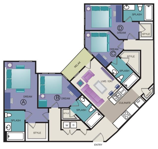 1,639 sq. ft. D3 floor plan