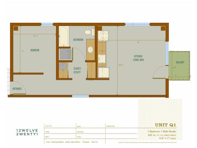 637 sq. ft. Q1 floor plan