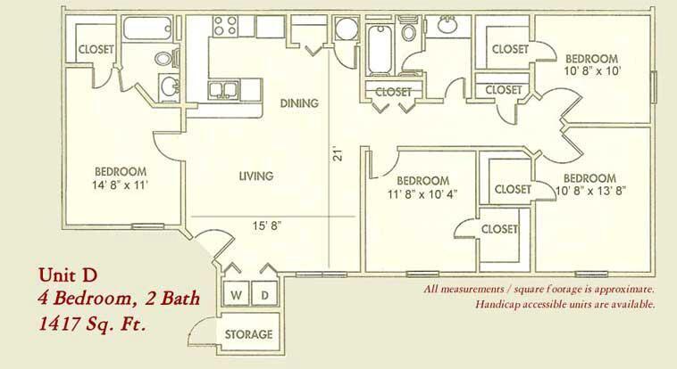 1,417 sq. ft. Mkt floor plan