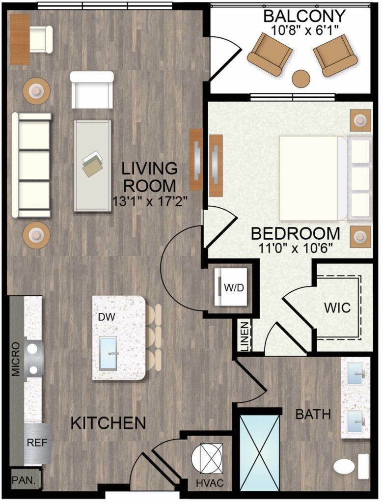 823 sq. ft. Mariposa floor plan