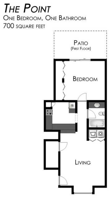 670 sq. ft. to 687 sq. ft. A-1 floor plan