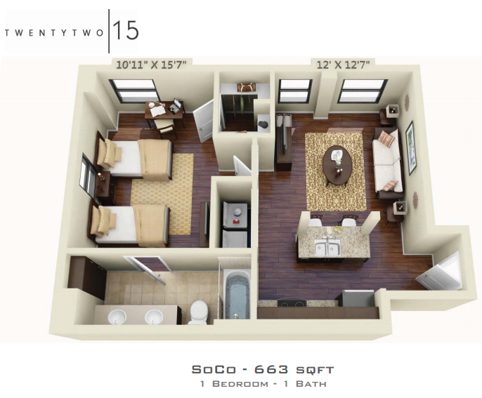 663 sq. ft. SOCO floor plan