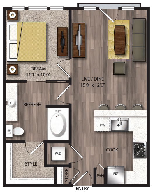 661 sq. ft. A3.1 floor plan