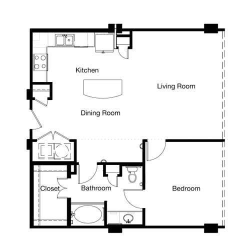 875 sq. ft. A4E-II floor plan