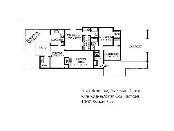 1,300 sq. ft. DUPLEX floor plan