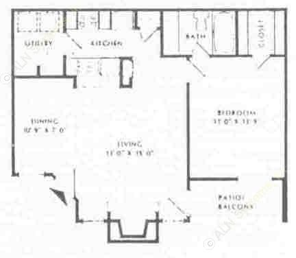 700 sq. ft. B floor plan