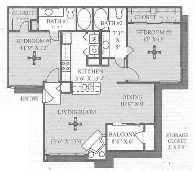 1,028 sq. ft. Colonial floor plan