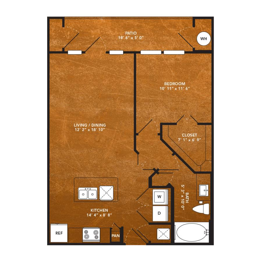 672 sq. ft. A4A floor plan