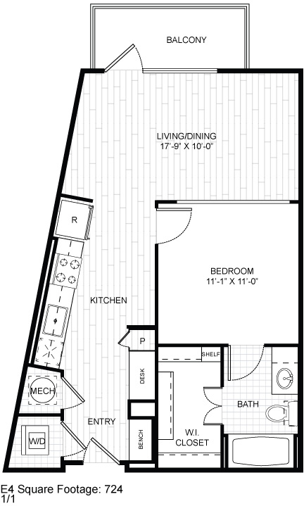 724 sq. ft. E4 floor plan