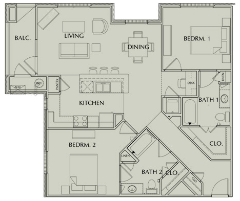 1,205 sq. ft. B1/60 floor plan