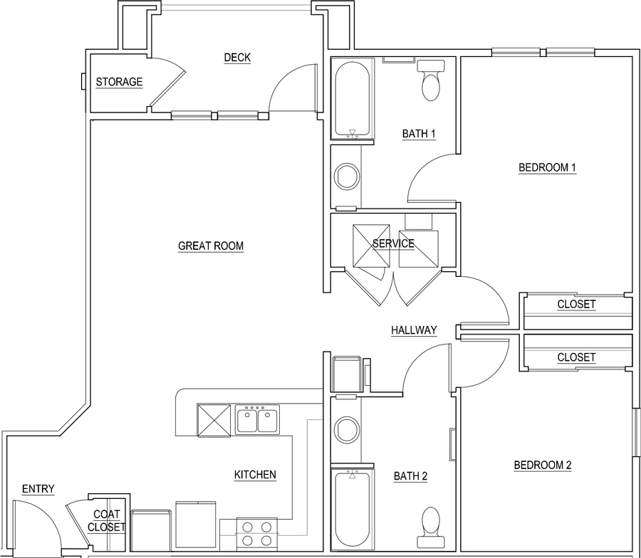 1,119 sq. ft. Scarlett Alt/60% floor plan
