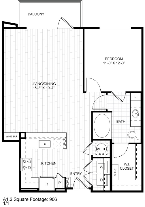 888 sq. ft. A8.1 floor plan