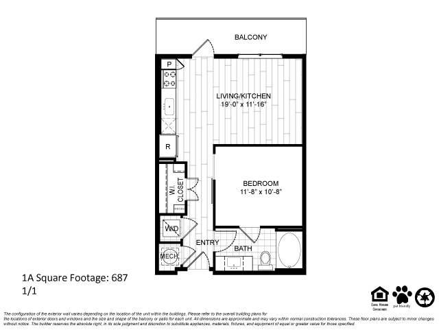 687 sq. ft. 1A floor plan