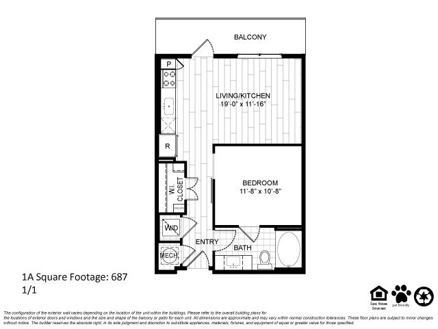 687 sq. ft. 1A floor plan