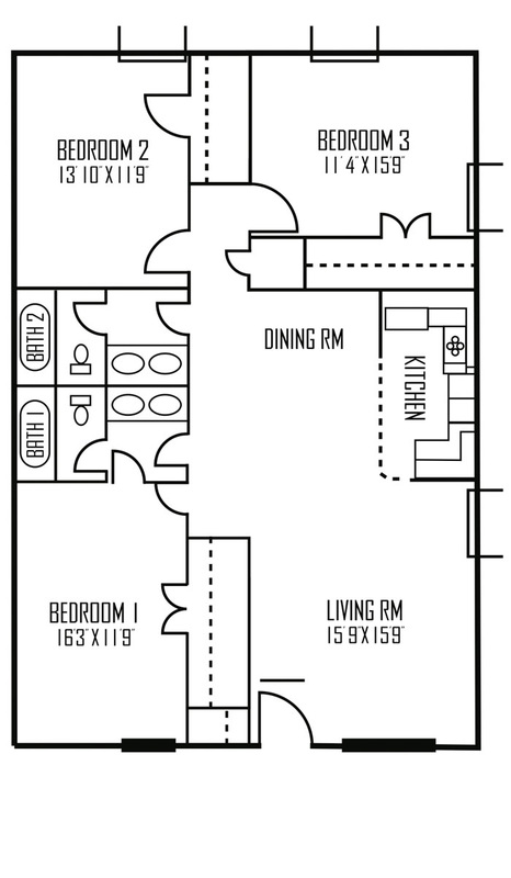 1,344 sq. ft. Sirius floor plan