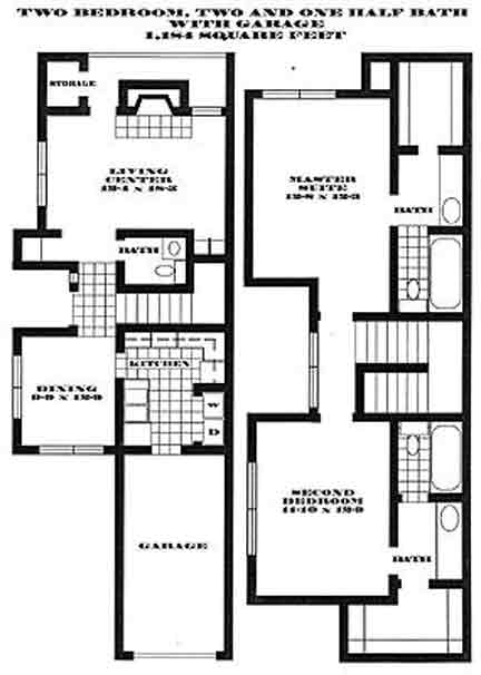 1,184 sq. ft. S3 PH II floor plan