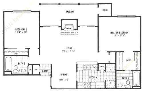 990 sq. ft. B2 floor plan